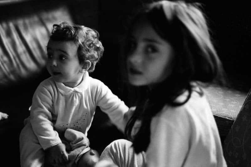 Black and white photo of two children