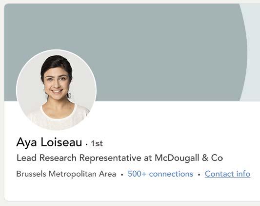 Profil LinkedIn d'Aya Loiseau, une femme installée à Bruxelles